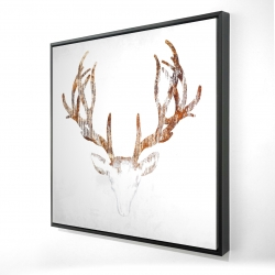Framed 48 x 48 - 3D - Wood looking deer head