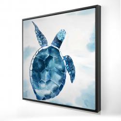 Framed 24 x 24 - 3D - Blue turtle