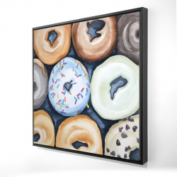 Framed 24 x 24 - 3D - Watercolor doughtnuts with icing