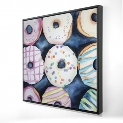 Framed 24 x 24 - 3D - Watercolor delicious looking doughtnuts
