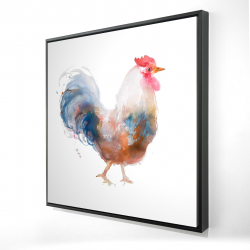 Framed 24 x 24 - 3D - Watercolor rooster