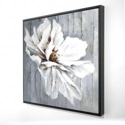 Framed 24 x 24 - 3D - Flower on wood