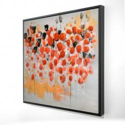 Encadré 24 x 24 - 3D - Champ de fleurs ronde rouges abstraites