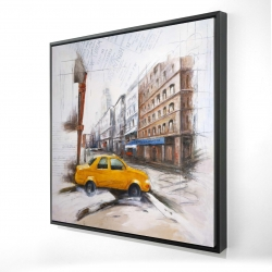 Framed 24 x 24 - 3D - Taxi in the street sketch
