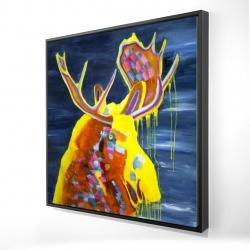 Framed 24 x 24 - 3D - Colorful moose