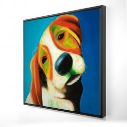 Framed 24 x 24 - 3D - Colorful beagle dog