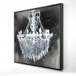 Framed 24 x 24 - 3D - Big glam chandelier