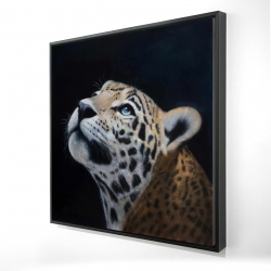 Framed 24 x 24 - 3D - Realistic leopard face