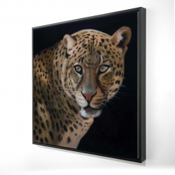 Framed 24 x 24 - 3D - Realistic fierce leopard