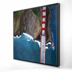 Framed 24 x 24 - 3D - Overhead view of the golden gate and mountains