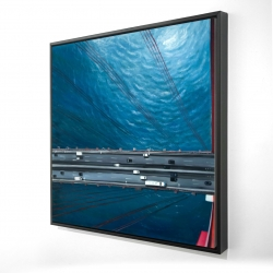 Framed 24 x 24 - 3D - Overhead view of traffic on the golden gate