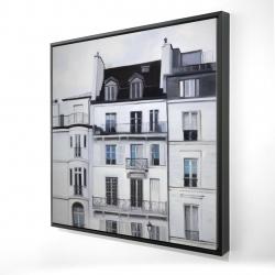 Framed 24 x 24 - 3D - Buildings along the seine river