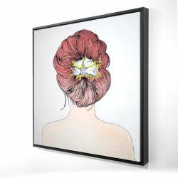 Framed 24 x 24 - 3D - Lady with flowers in her hair