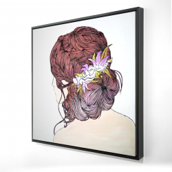 Framed 24 x 24 - 3D - Woman from behind with flowers
