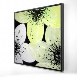 Framed 24 x 24 - 3D - Yellow flower with burst center