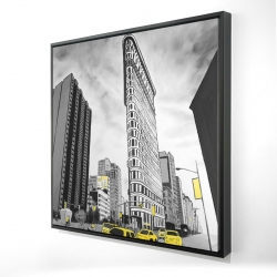 Framed 24 x 24 - 3D - Outline of flatiron building to new-york