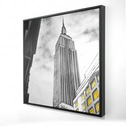 Framed 24 x 24 - 3D - Outline of empire state building