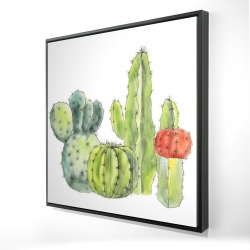 Framed 24 x 24 - 3D - Gathering of small cactus