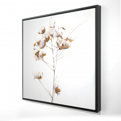 Framed 24 x 24 - 3D - Cotton flowers branch