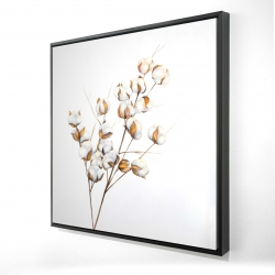 Framed 24 x 24 - 3D - A branch of cotton flowers