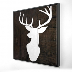 Framed 24 x 24 - 3D - Silhouette of a deer on wood