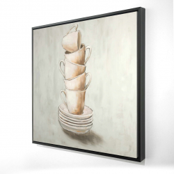 Framed 24 x 24 - 3D - Stacked cups