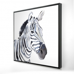 Framed 24 x 24 - 3D - Watercolor zebra