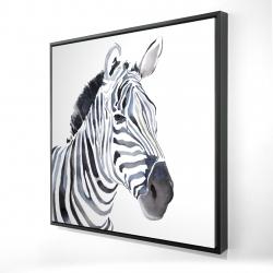 Framed 24 x 24 - 3D - Watercolor zebra