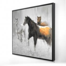 Framed 24 x 24 - 3D - Abstract herd of horses