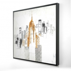 Framed 24 x 24 - 3D - Blurry sketch style cityscape