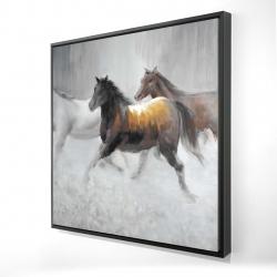 Framed 24 x 24 - 3D - Herd of wild horses