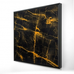 Framed 24 x 24 - 3D - Black and gold marble texture