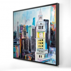 Framed 24 x 24 - 3D - Colorful cityscape of manhattan