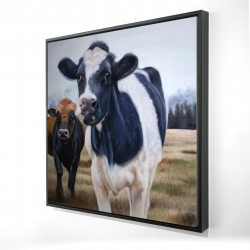Framed 24 x 24 - 3D - Two cows eating grass