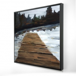 Framed 24 x 24 - 3D - Dock and lake