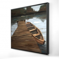 Framed 24 x 24 - 3D - Lake, dock and boat