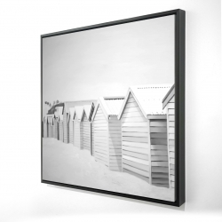 Framed 24 x 24 - 3D - Beach cabins