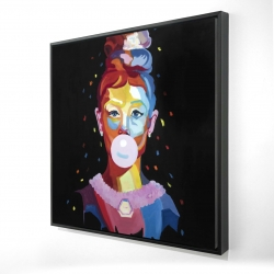 Framed 24 x 24 - 3D - Colorful audrey hepburn portrait with bubblegum