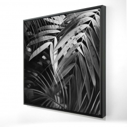 Framed 24 x 24 - 3D - Monochrome tropicals leaves