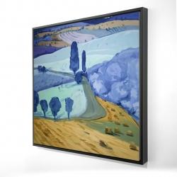 Framed 24 x 24 - 3D - Tuscany field
