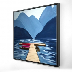 Framed 24 x 24 - 3D - Lake, quai & mountains