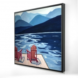 Framed 24 x 24 - 3D - Lake, dock, mountains & chairs