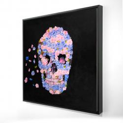 Framed 24 x 24 - 3D - Skull of flowers in flight