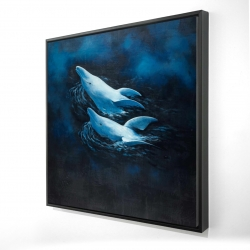 Framed 24 x 24 - 3D - Two swimming dolphins
