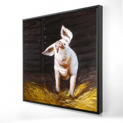 Framed 24 x 24 - 3D - Happy pig