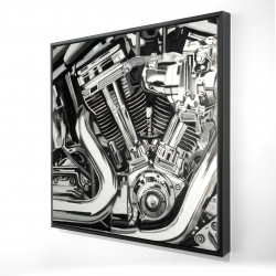 Framed 24 x 24 - 3D - Mechanism of a motorcycle