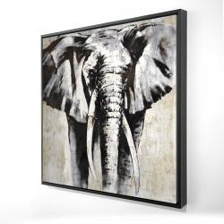 Framed 24 x 24 - 3D - Grayscale elephant