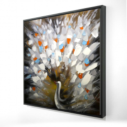 Framed 24 x 24 - 3D - Abstract color spotted peacock