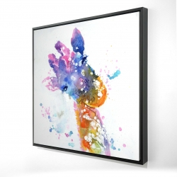 Framed 24 x 24 - 3D - Abstract giraffe with color splash