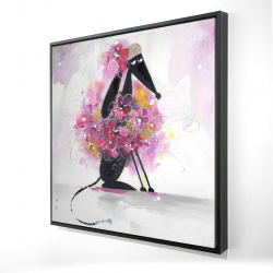 Framed 24 x 24 - 3D - Cartoon dog with pink flowers